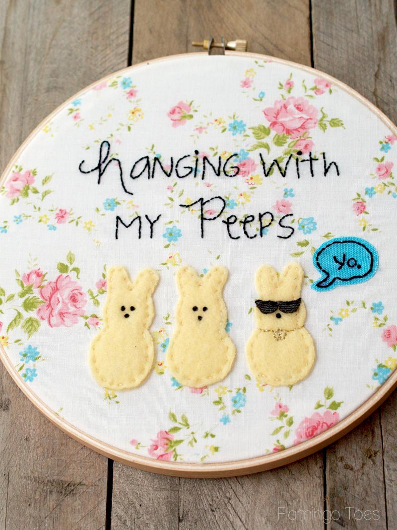 """Spring """"Peeps"""" Embroidery Hoop Art"""