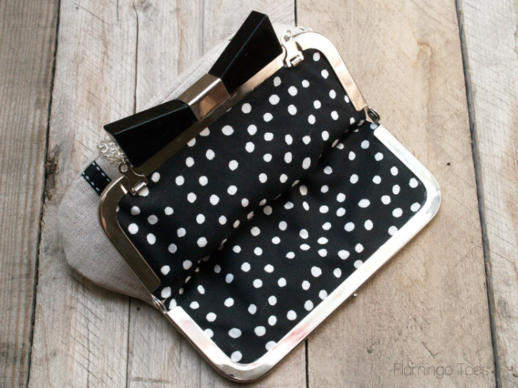 black and white polkadot lining