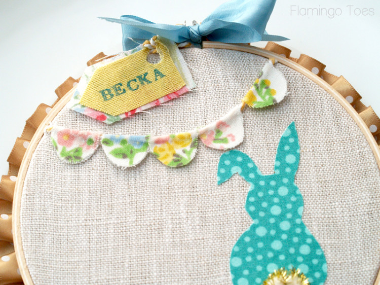 bunting and name card on hoop