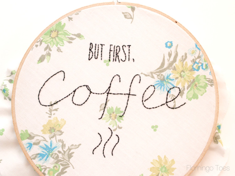 coffee hoop stitching