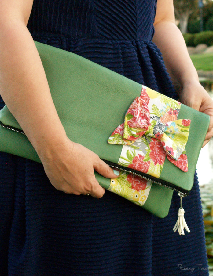 Colorful Leather and Bow Fold Over Clutch