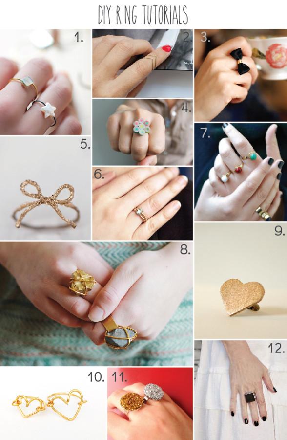 12 DIY Ring Tutorials - part of a huge roundup of 51 DIY Jewelry Tutorials!