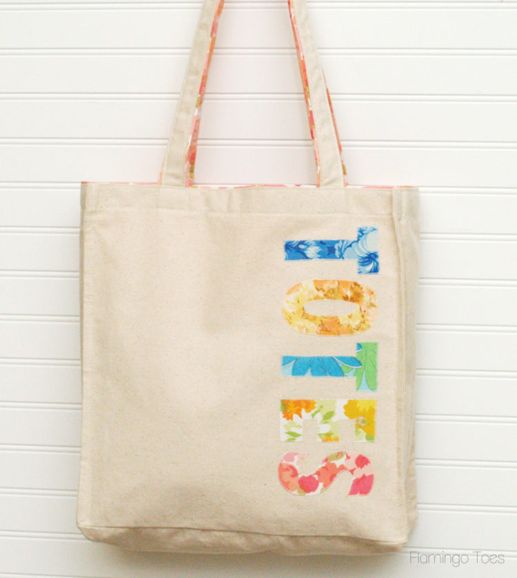 Fabric Applique Canvas Tote