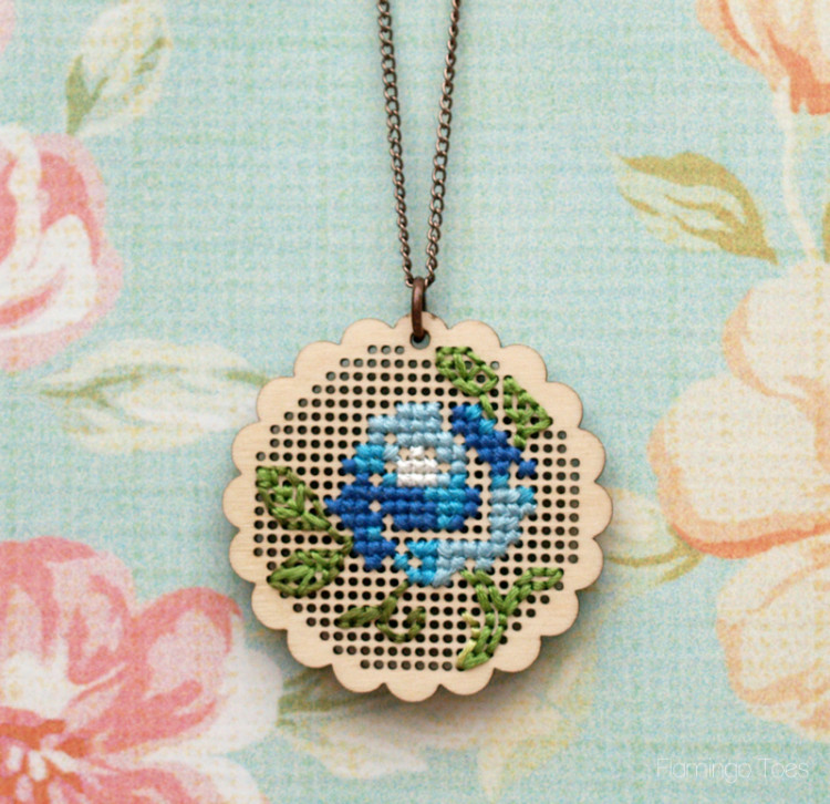 Flower Cross Stitch Necklace