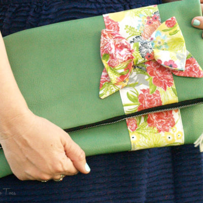 Leather and Bow Fold Over Clutch