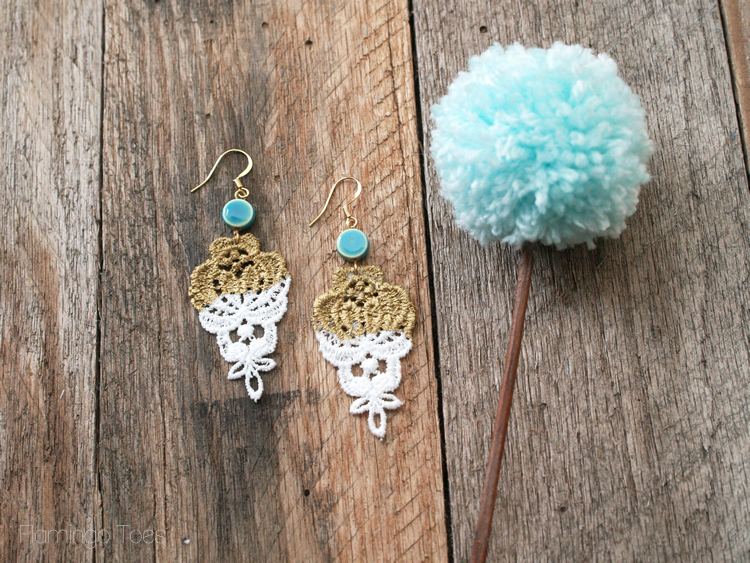 Gold Dipped Lace Earrings