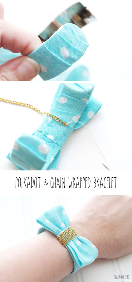 How to Make a Polkadot and Chain Wrapped Bracelet