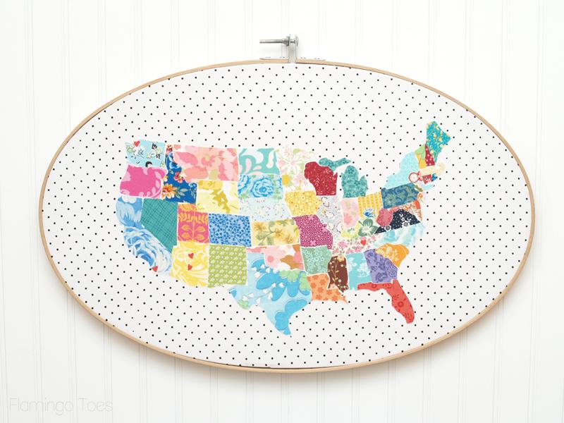 Huge Fabric Us Map Hoop Art - Cute-us-map