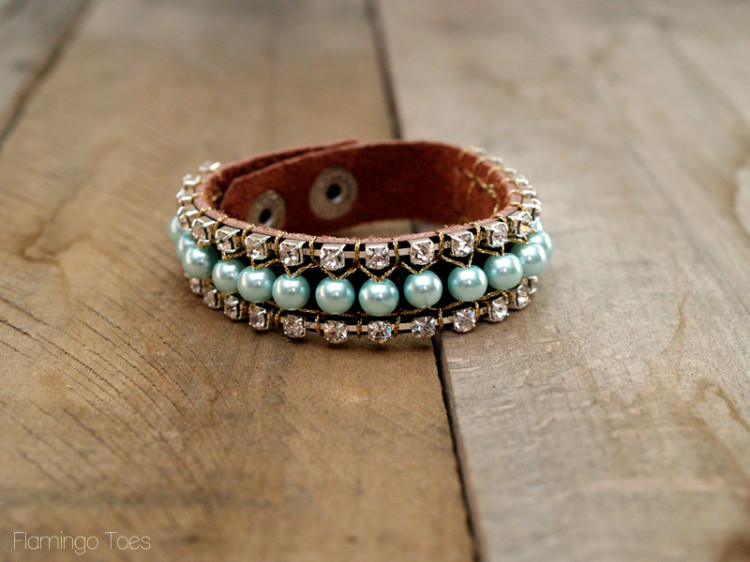 Pearl and Leather Cuff