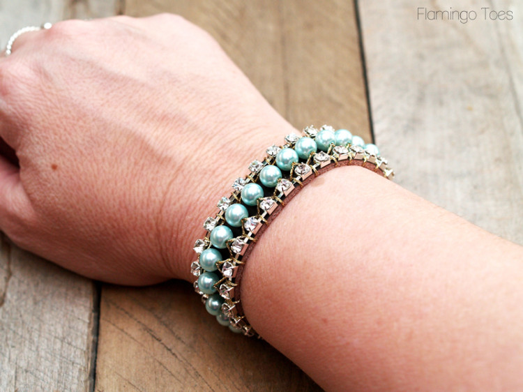 Rhinestone Pearl and Leather Cuff