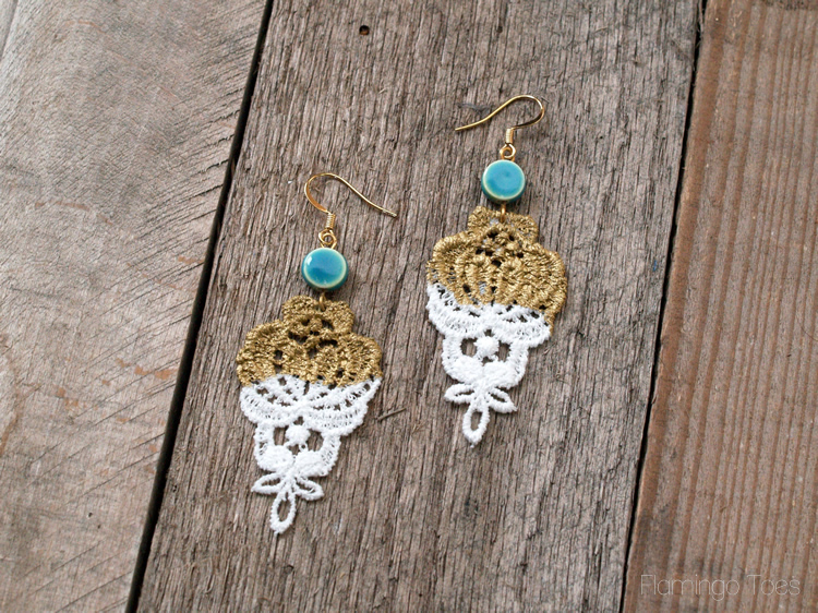 Simple Gold Lace Earrings