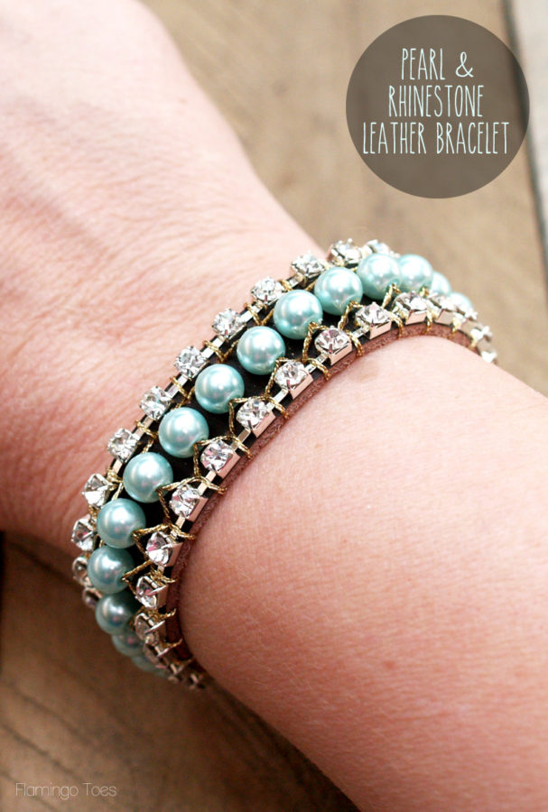 Pearl and Rhinestone Leather Bracelet