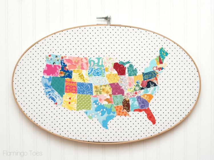 Huge Fabric US Map Hoop Art