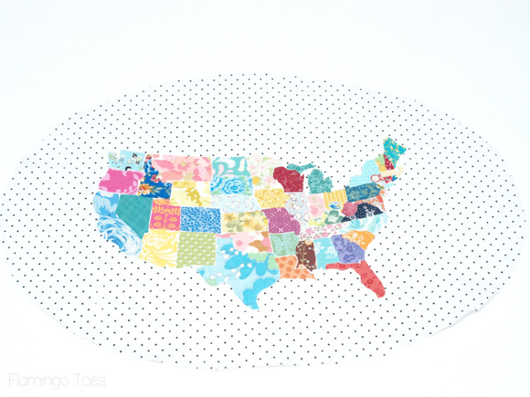 map on backing fabric