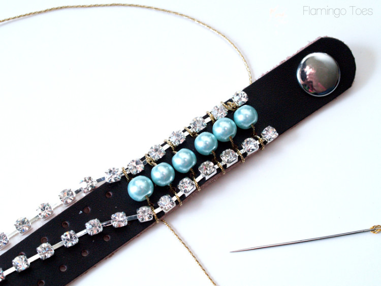 sewing pearls and rhinestones to leather