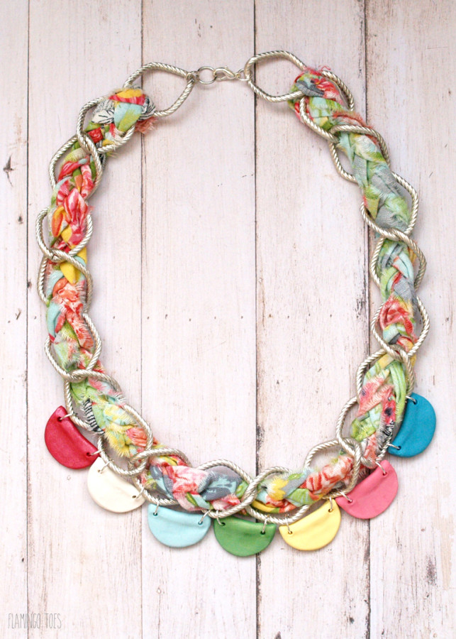 Braided Chain and Clay Scallops Necklace
