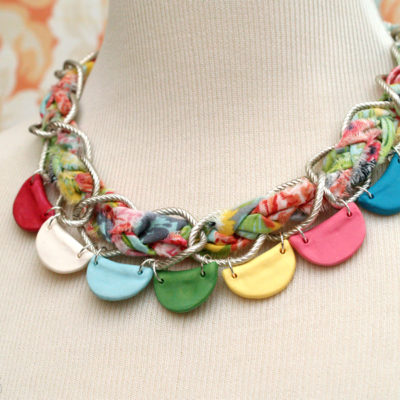 Pretty Clay Bunting and Braided Chain Necklace