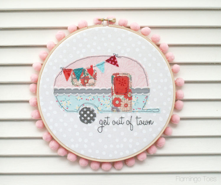 Stitched Retro Camper Hoop Art