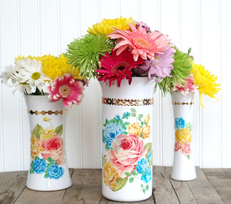 Vintage Style Floral Milk Vase