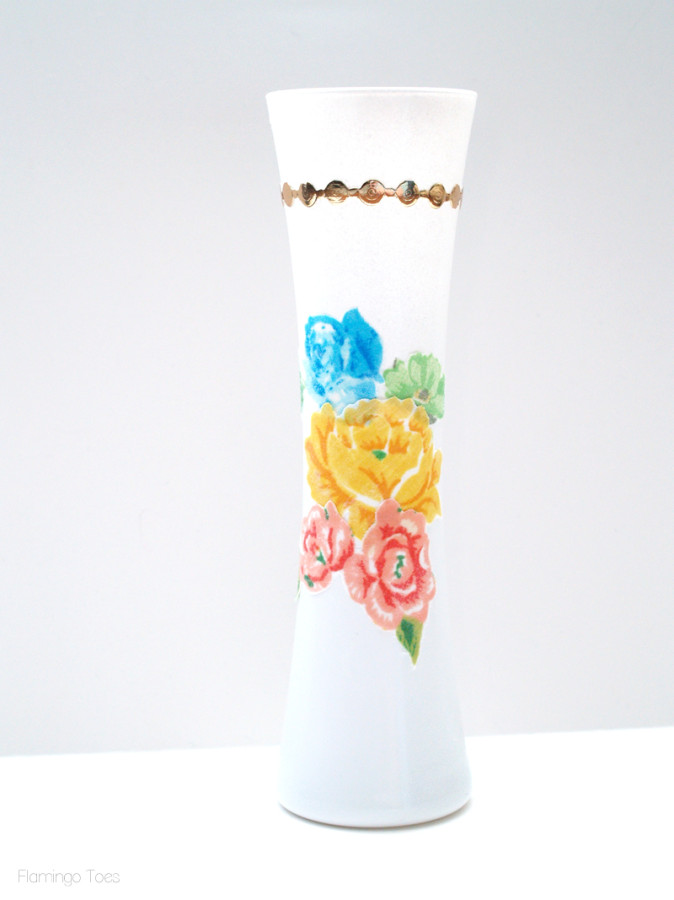 decoupage fabric to vase