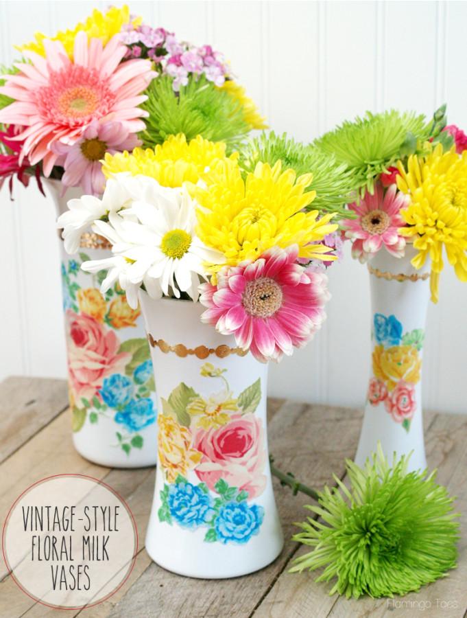 diy Vintage Style Floral Milk Vases