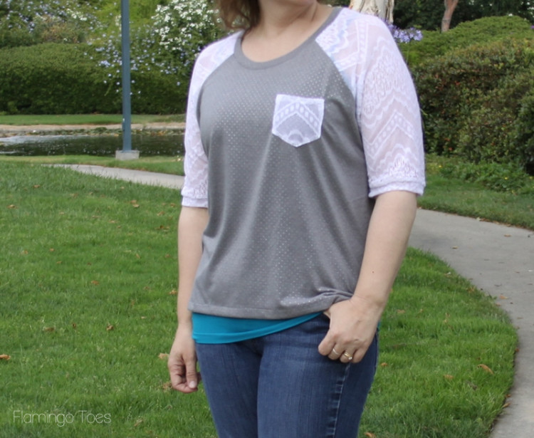 lace and knit raglan tee