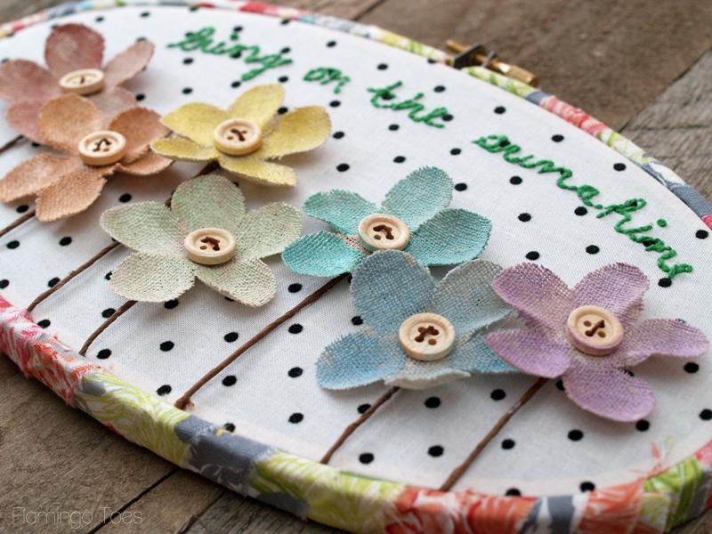 Burlap Flowers Hoop Art