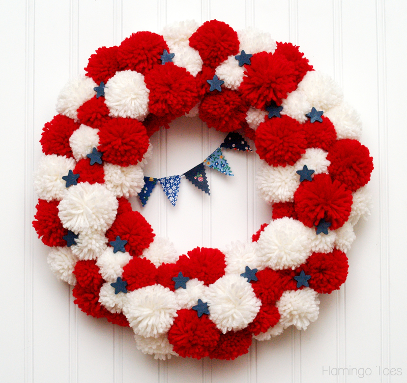 Fourth of July Pom Pom Wreath