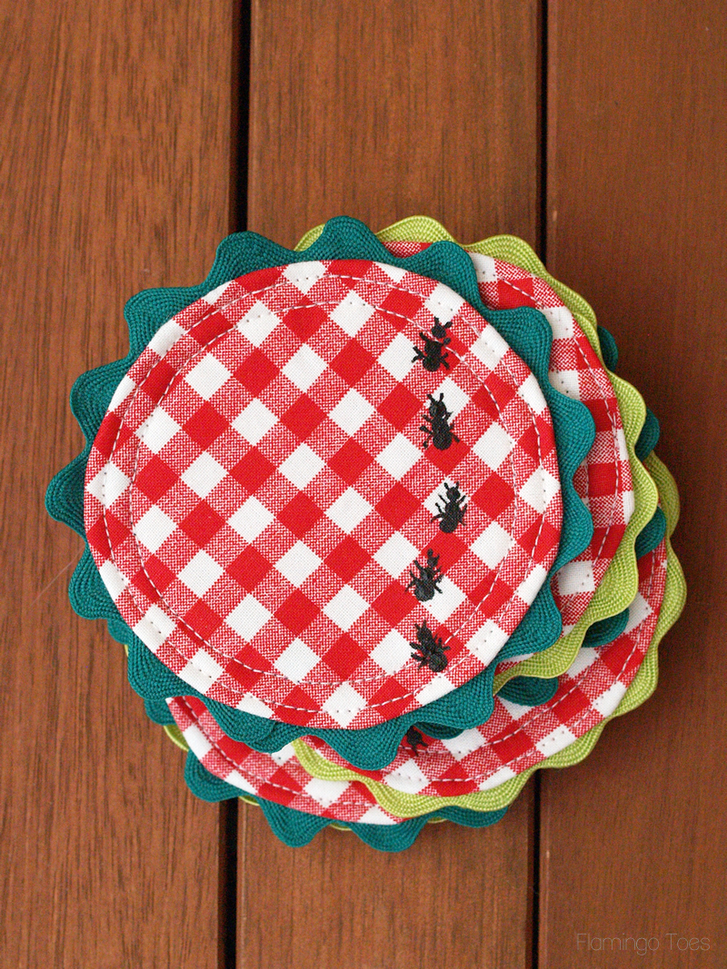 Gingham and Rick Rack Coasters