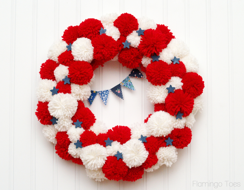 July 4th Pom Pom Wreath