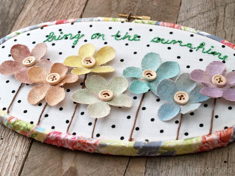 Pretty Flower Hoop Art
