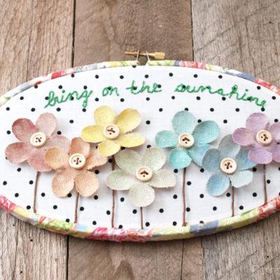 Bring on the Sunshine Summer Floral Hoop Art