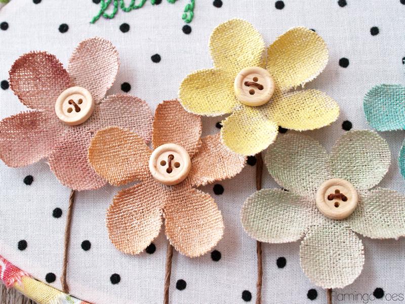 Watercolor Burlap Flowers