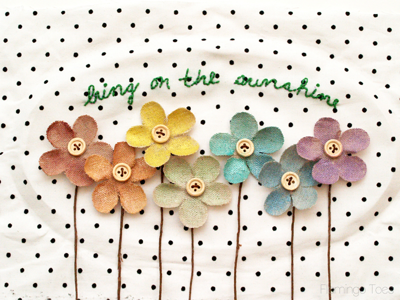 gluing flowers on fabric