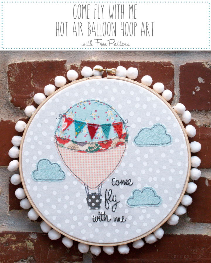 Come Fly With Me Hot Air Balloon Hoop Art