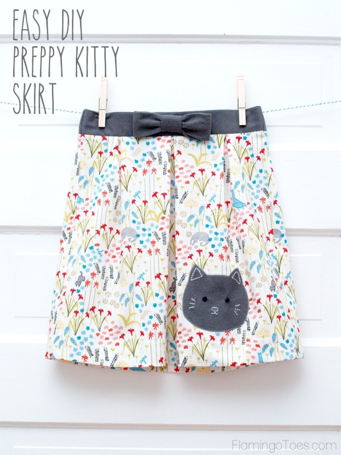Easy DIY Preppy Kitty Skirt