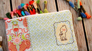 Sweet Deer Embroidered Zipper Pouch