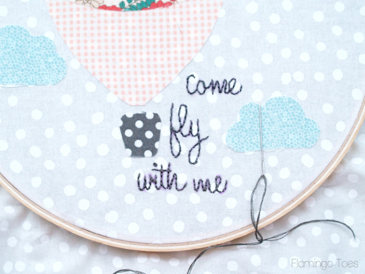 Embroidered lettering on hoop