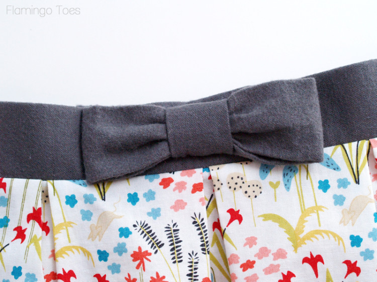 Flannel bow on waistband