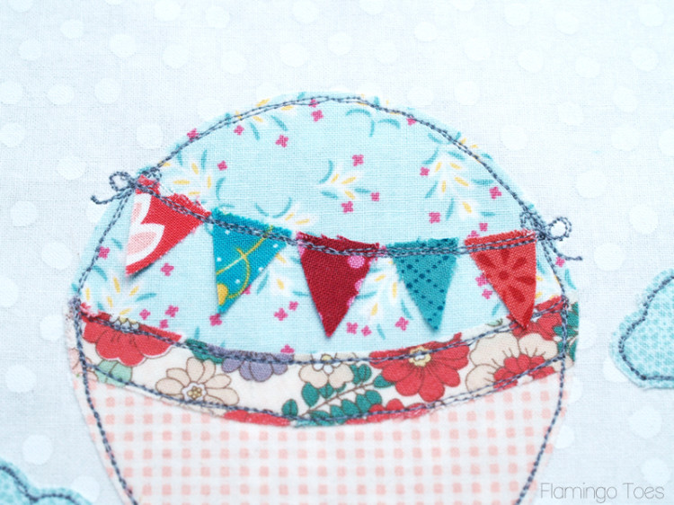 Sewing Pennant to Balloon