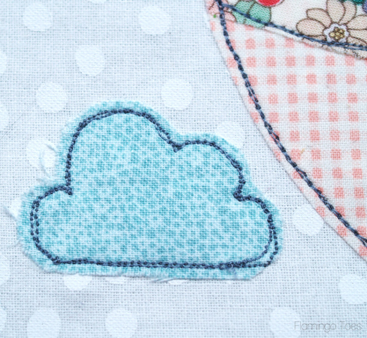Sewing clouds and balloon
