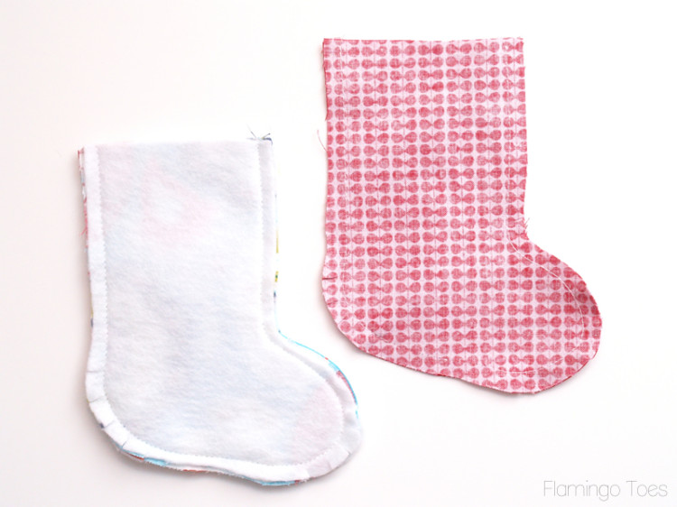 Sewing stocking pieces together