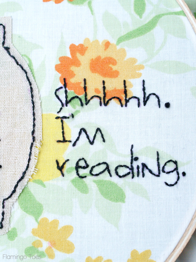 Shhh Im reading embroidery