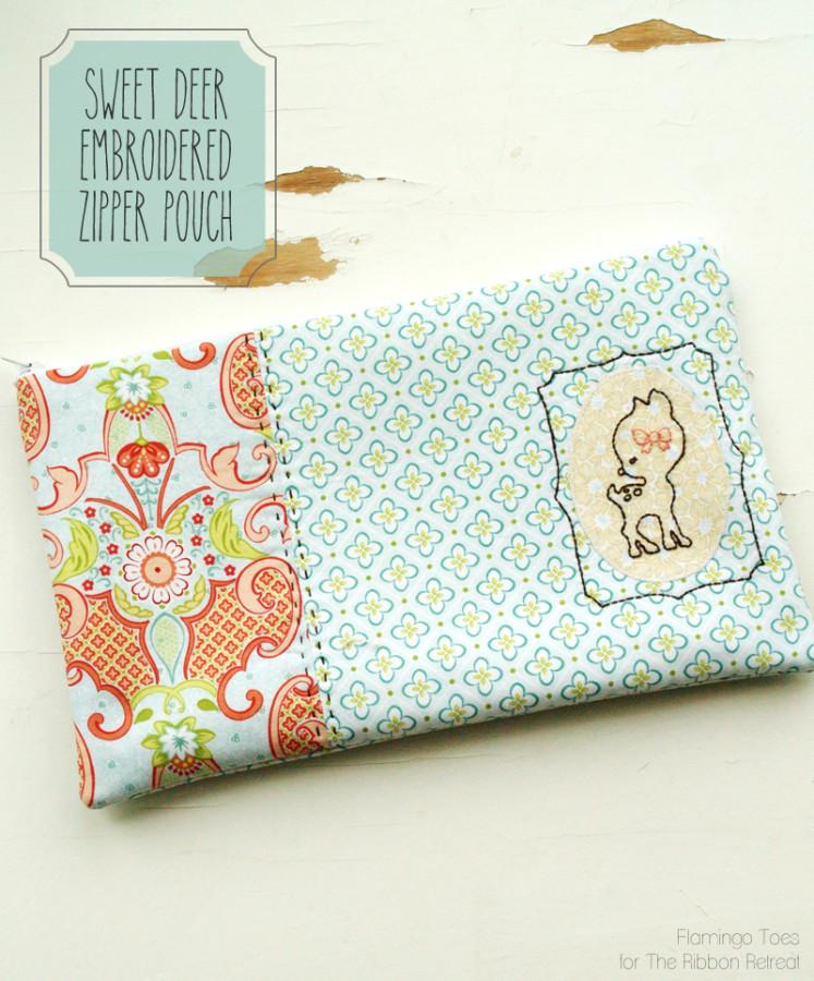 Sweet Deer Embroidered Zipper Pouch