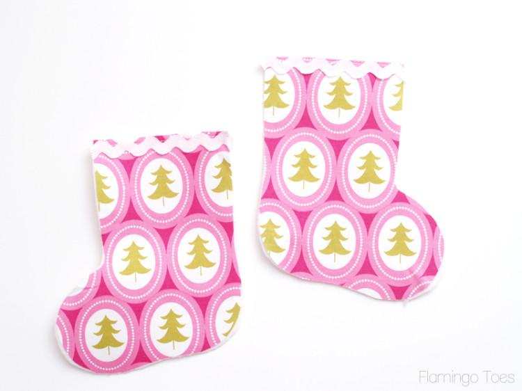 sewing rick rack to stocking