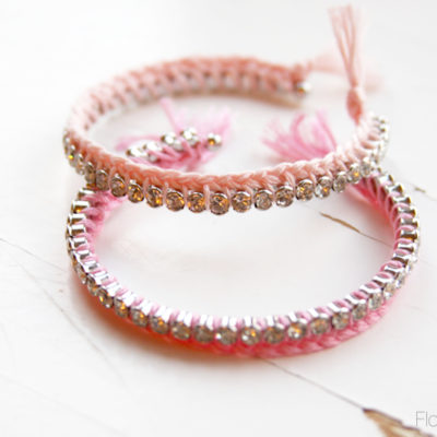 Braided Thread and Rhinestone Bracelets DIY