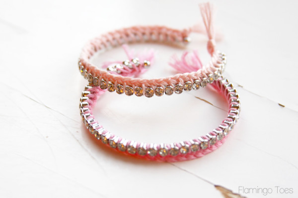 Braided Floss and Rhinestone Bracelets