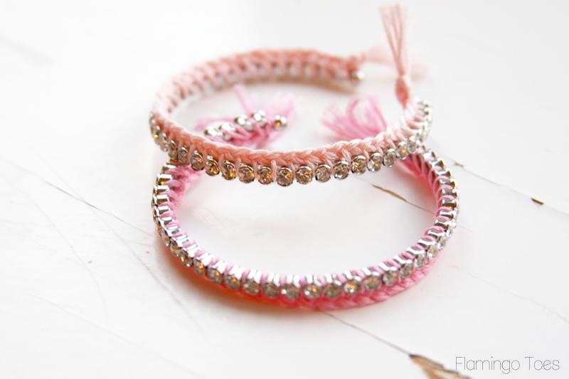 Braided Thread and Rhinestone Bracelets DIY