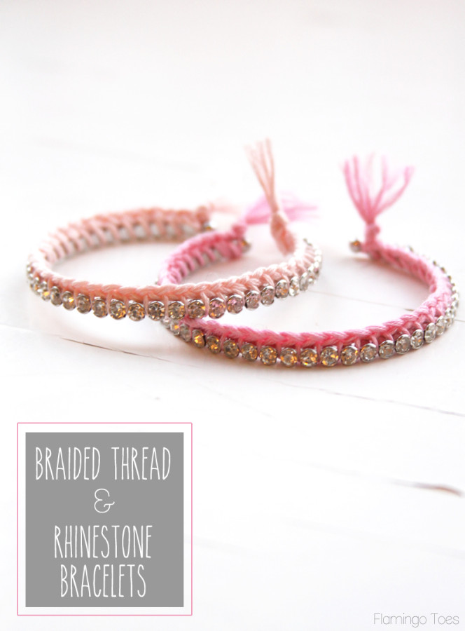 Braided Thread and Rhinestone Bracelets