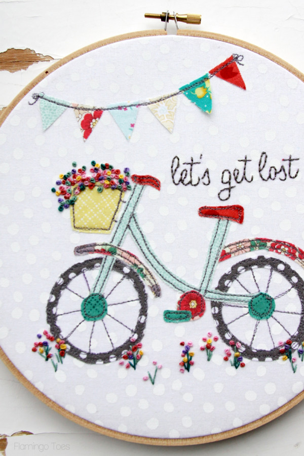 Floral Bicycle Embroidery Hoop